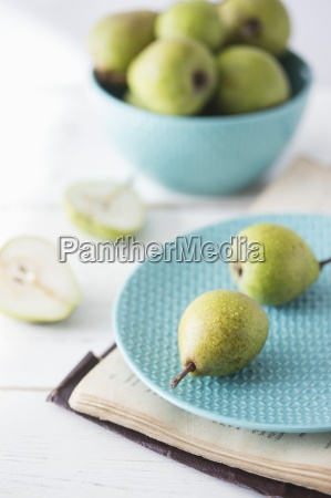 fresh ripe pears on a plate