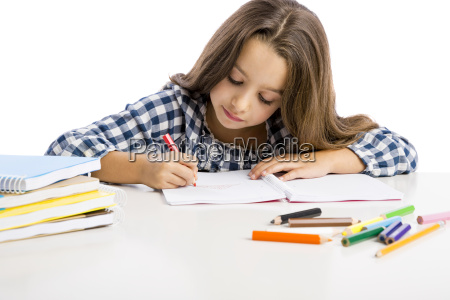 little girl making drawings