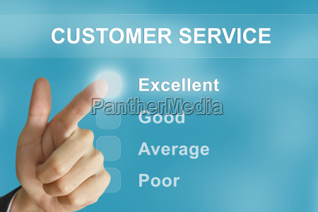 business hand pushing customer service button
