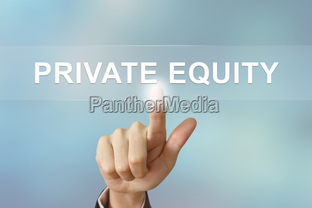 business hand clicking private equity button