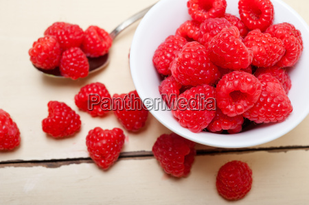 bunch of fresh raspberry on a