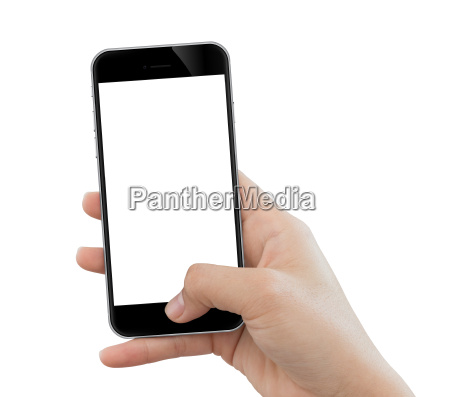 closeup hand use phone mobile isolated