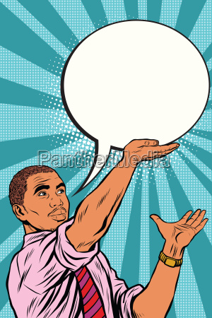 retro black businessman cartoon bubble