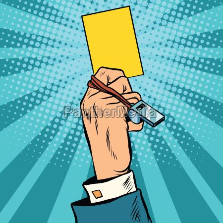 gelbe, karte, warnung, business-konzept - 18071008