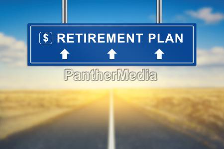 retirement plan words on blue road