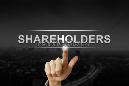 business hand shareholders mission button on