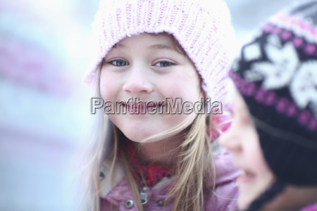 portrait of girl in woolly hat