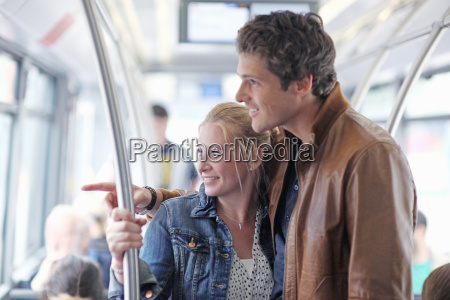 mid adult couple passengers travelling on