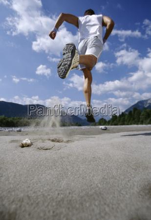 rearview man running