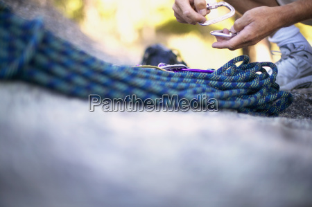 detail view of rock climbing rope