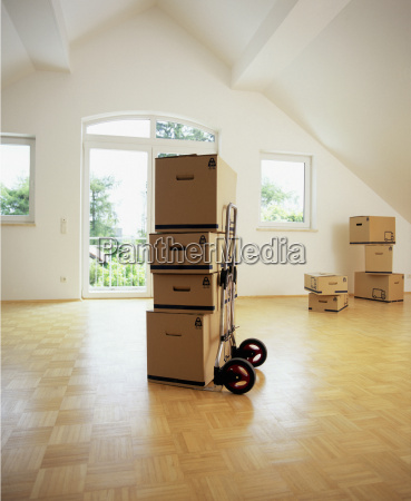 view of unpacked boxes in an