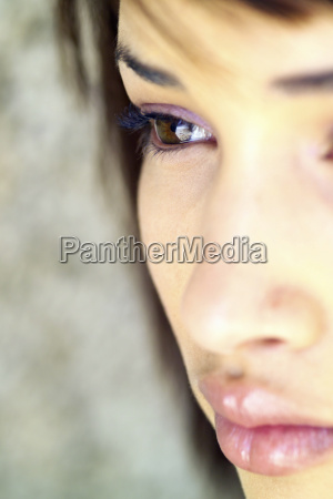 extreme close up of womans face