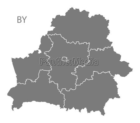 belarus regionen karte grau