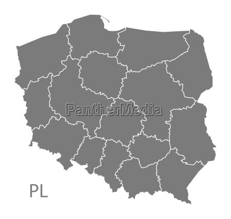 polen karte mit den regionen grau