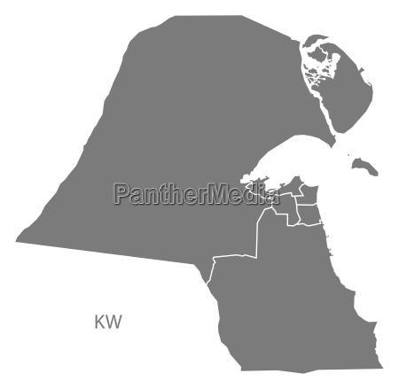 kuwait gouvernorate karte grau