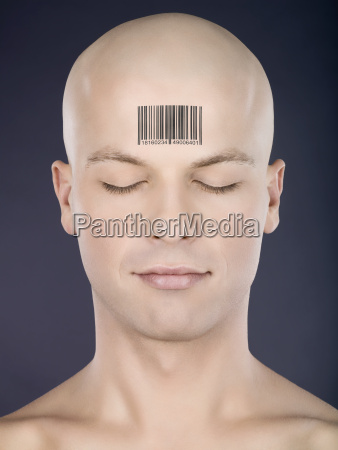 bald man with barcode on head