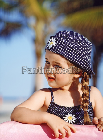 portrait young girl in sun hat