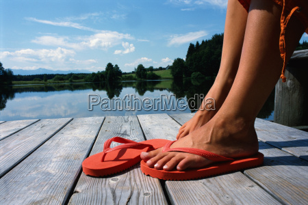 close up of womans feet in