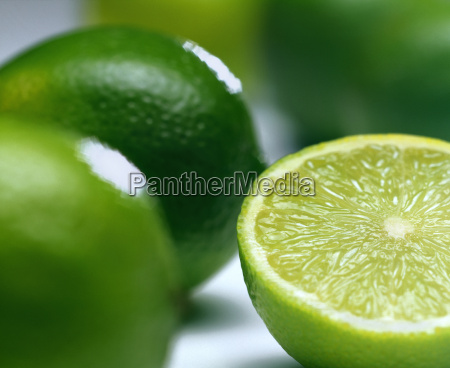 close up of limes one cut