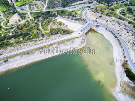 aerial view of germasogeia dam limassol