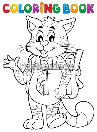 coloring book school cat theme 1