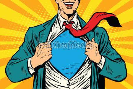 maennlicher geschaeftsmann des superhelden