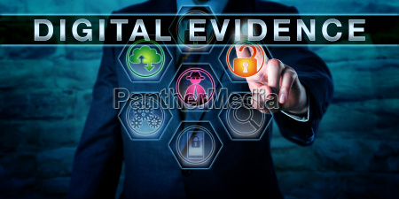 forensic examiner touching digital evidence