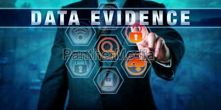 forensic examiner pressing data evidence