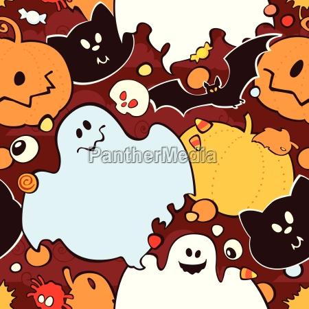nahtlose muster fuer halloween kuerbis gespenst