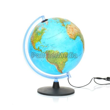 globe auf weissem hintergrund