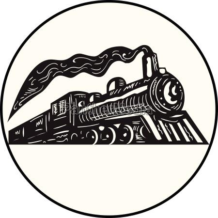 zug dampflokomotive coming up kreis holzschnitt