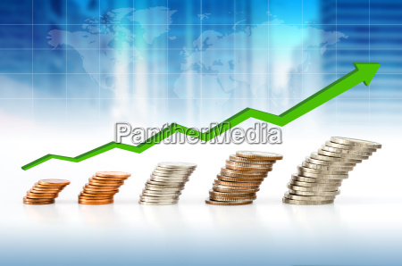 business concept coin stacks with financial