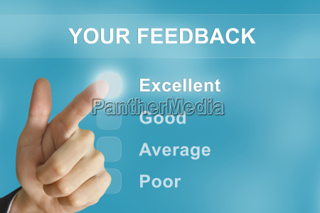 business hand pushing your feedback button
