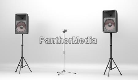 konzertbuehne mit lautsprecher und mikrofon