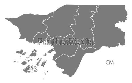 guinea bissau regionen karte grau