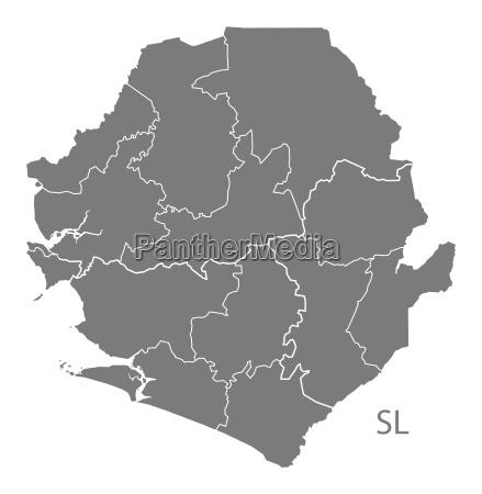 sierra leone provinzen karte grau