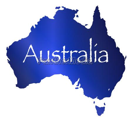 australien karte mit weissem hintergrund