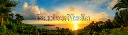 panorama of a colorful sunset at