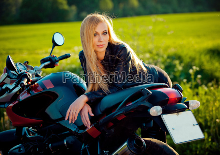 sexy fashion female biker girl blonde