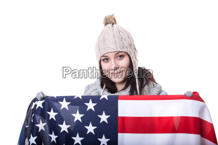 beautiful patriotic vivacious young woman with