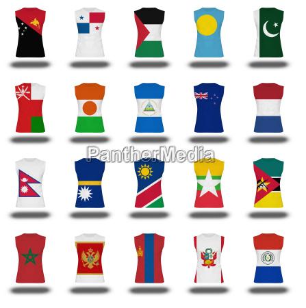 zusammenstellung von staatsangehoerigen flaggen shirt ikone