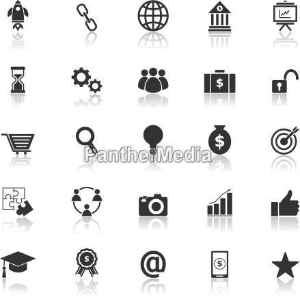 start up line icons on black