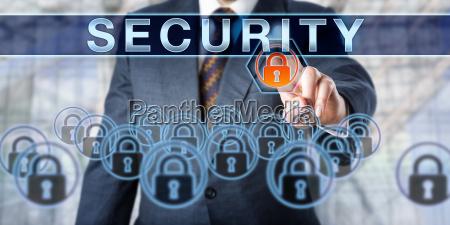 corporate executive pushing security