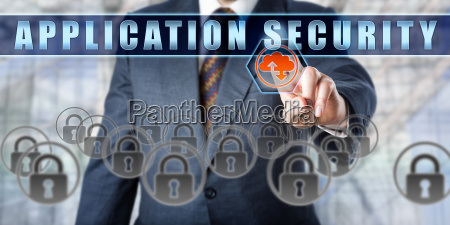 corporate manager touching application security