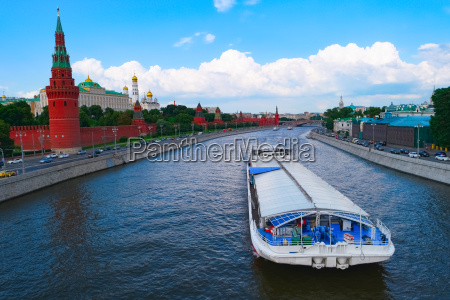 moscow kremlin and big barge on