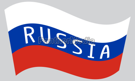 russian flag waving with word russia