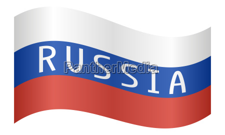 russian flag with word russia waving