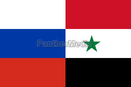russian and syrian flags together