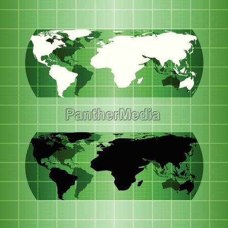 silhouette gruene globus karte material design