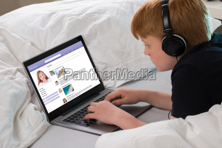 boy chatting on social networking site